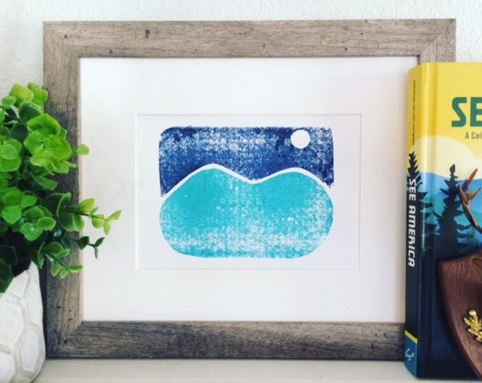 Moonlit Mountains Print - Simple Design