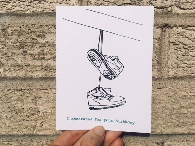 Funny Birthday Card I Decorated Shoes On A Wire Sarcastic