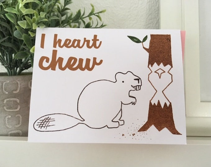 Funny Valentine Card - I Heart Chew - Funny Love Card, Weird Love Card, Anniversary Card, for Boyfriend, for Husband, for Wife, Girlfriend