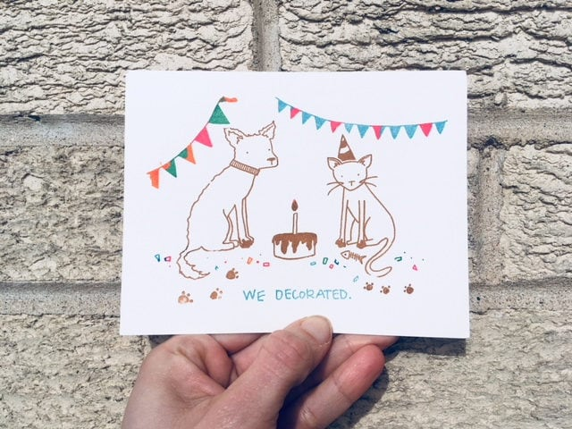 Funny Birthday Card We Decorated Cat Lovers Animal Lovers Card