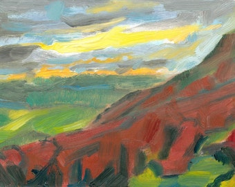 plein air original oil landscape painting on canvas 9x12 On the Hill at Dusk