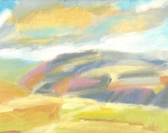 painting oil landscape small canvas Light and Colour on the Hill
