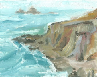 seascape painting oil original plein air canvas small 6x8 On the Coast Path to Sennen, Cornwall