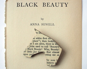 Black Beauty - Horse brooch. Classic book brooches made with original pages.