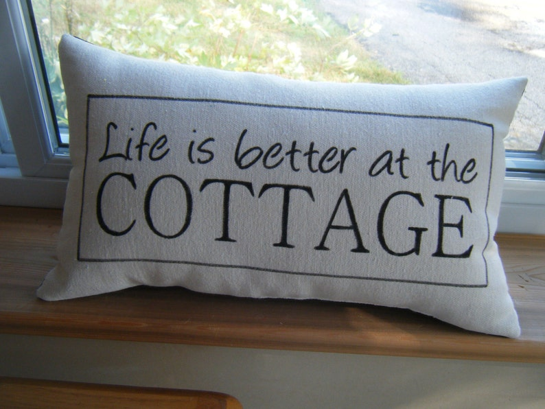 Hand Painted Pillow  Life is Better at the Cottage  See image 1