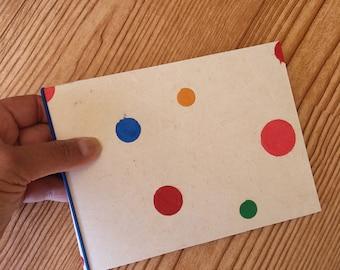 4 x 6 mini photo album - polka dots - rainbow colors over cream paper