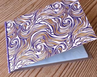4 x 6 mini photo album - gold - eggplant - ivory swirls and waves