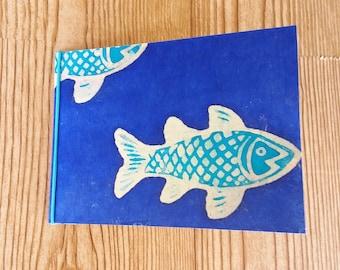 4 x 6 mini photo album - fish - deep blue