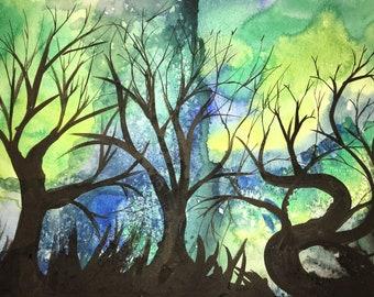 Bare Trees - Original Watercolor Painting