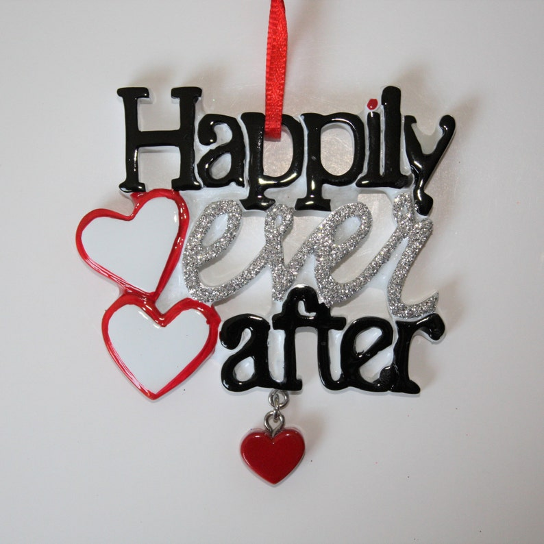 Happily Ever After Wedding Marriage Bride Groom Personalized Christmas Ornament