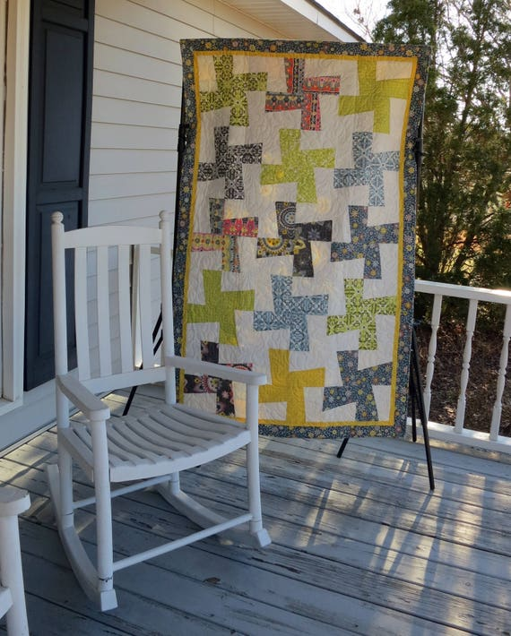 Free Spirit Fabrics Spinning Pinwheel Quillow-quilt in a pillow READY TO SHIP Throw Free Shipping!