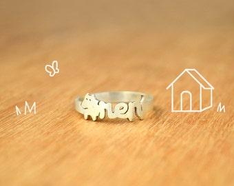 Dog Ring Name- Sterling Silver - Dog lover gift -lovely dog delicated
