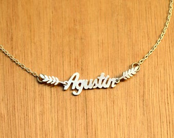Name with leaves Necklace -Sterling Silver - Personalized Pendant -Word-Silver Name Necklace, Personalized Jewelry, custom name necklace.