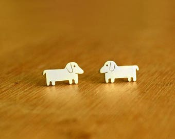 Dachshund dog- Stud dog Earrings- Sterling Silver - dog lover gift