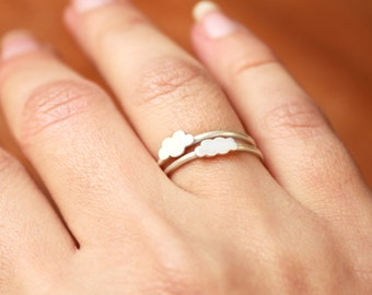 Two Cloud Rings - Stacking Rings - Sterling silver - Set of 2 - Stacker Rings