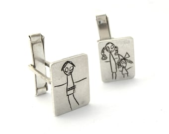 Your Child's Drawing on a Cuff Links- Personalized- Made to order- sterling silver