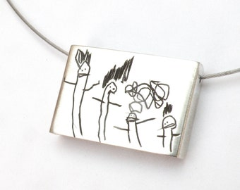Your Child's Drawing on a Pendant- Personalized- Bigger size- Made to order