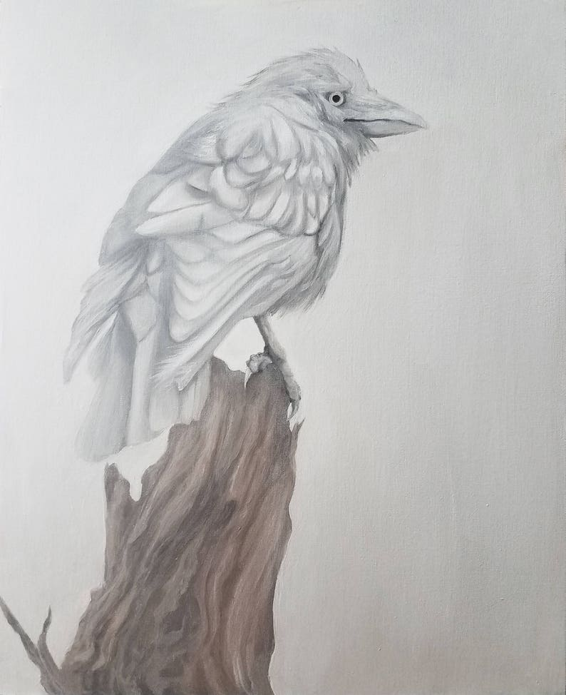 Sentinel - ORIGINAL one of a kind Oil Painting, alla prima, white crow,  pale raven, fog and snow, symbolism, Native American, Greek, Celtic