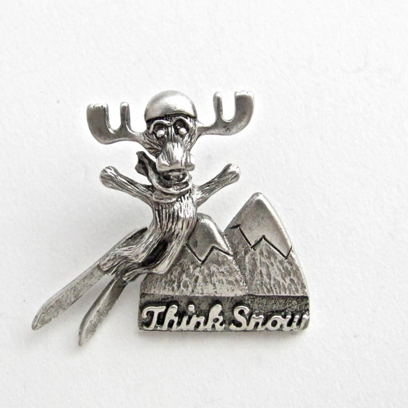 Markie Moose Ski Think Snow tac pin pewter image 0
