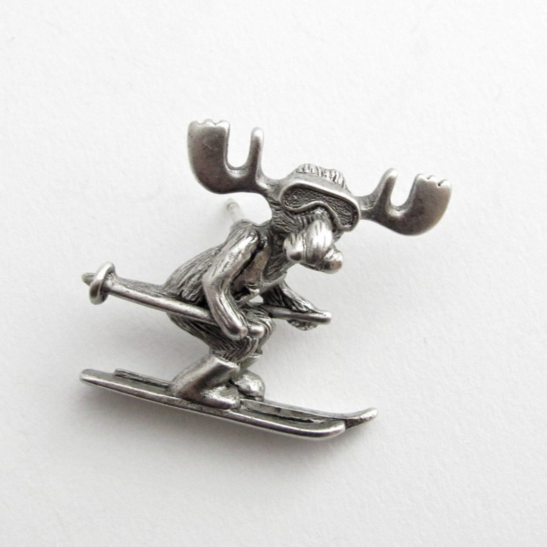 Markie Moose Ski Race tac pin pewter-LAST ONE image 0