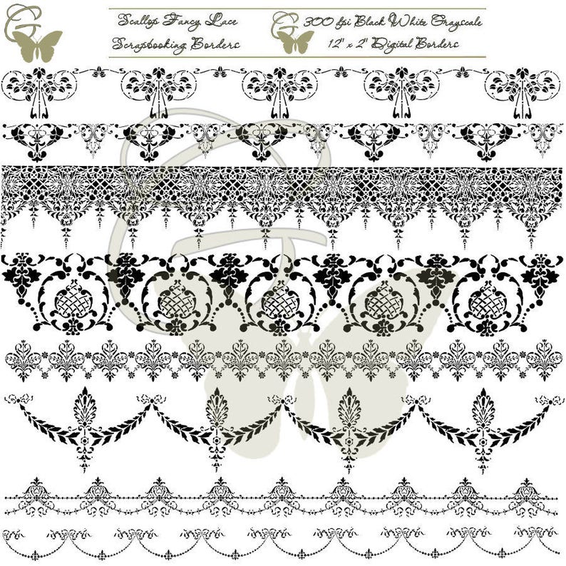 Hand Drawn Craft Border Craft Clip Art Download Scallop Lace Etsy