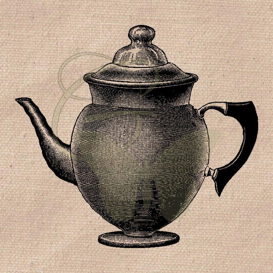 Printable Vintage Coffee Pot Drawing Craft Supply Clip Art ...