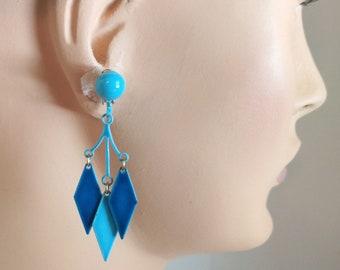 Mod 1960s enamel earrings, chandelier dangle drop diamond earrings blue and aqua clip on earrings harlequin