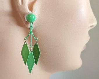 Mod 1960s enamel earrings, chandelier dangle drop diamond earrings light green and olive clip on earrings harlequin