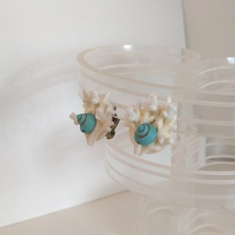 Mod 1960s cluster earrings faux white coral branches with aqua and gold sea shell bead new old stock nos clip on West Germany
