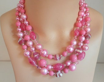 1960s 2 strand chunky beaded lucite necklace shades of pink pearlized, silver foil and clear beads West Germany or Japan
