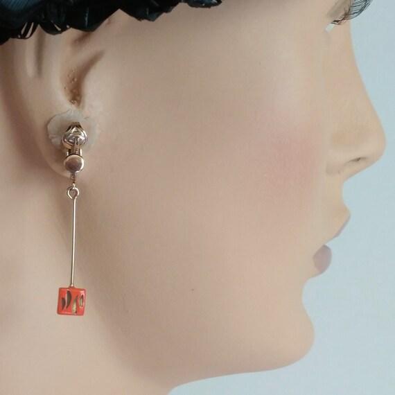 Mod 1960s long dangle drop earrings orange enamel