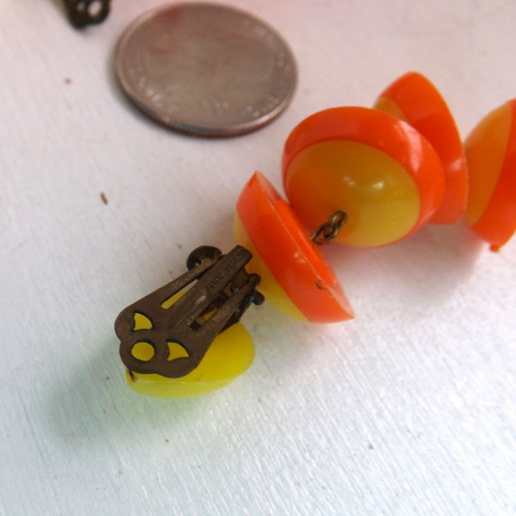 Mod 1960s, go go, yellow and orange plastic dangl… - image 8