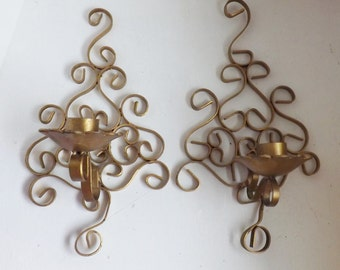 Fabulous pair ornate vintage Hollywood Regency gold sconces scrolled scroll metal candle holders modern farmhouse decor