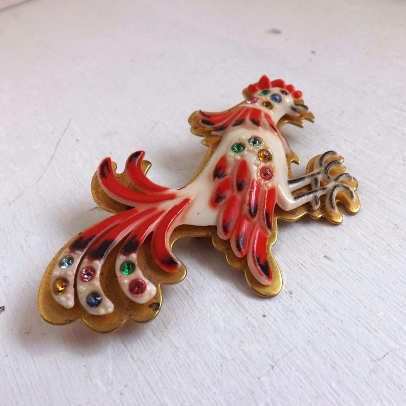 Fabulous vintage French Art Deco celluloid rhinestone brooch or pin rooster hand painted red accent on brass