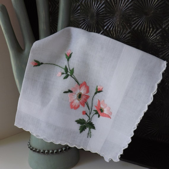 Vintage Cotton Handkerchief with Pink Embroidered Flowers by Brumel Made in Hong Kong