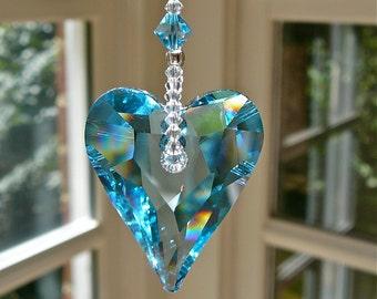 "Blue Crystal Heart Suncatcher, Window Hanger, Ornament, for Car or Home, 37mm Swarovski Heart in 6 Colors, 3 Lengths - ""MIA"""