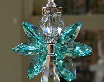"""Guardian Angel Crystal Suncatcher, Car Charm Prism, Choose Length, Choose From 14 Wing Colors - Angel For Your Home or Car - """"GRACE"""""""