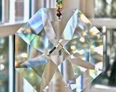 BEST Rainbow Maker We Sell - Huge 2.4 quot Swarovski Suncatcher, Crystal Octagon Prism Suncatcher on Chakra Strand - quot OCTAVIA VENTI Rainbow quot