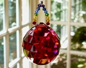 Red Crystal Sun Catcher, 30mm Swarovski Crystal Ball, Prism, with Swarovski Crystal Chakra Strand, Yoga Decor - quot PRANA quot in 8 Colors