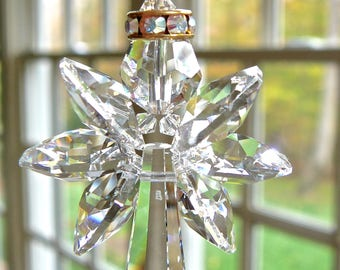 """Crystal Angel Suncatcher, Guardian Angel with Gold Halo for Car Rear View Mirror or Home Window Swarovski Crystal Rainbow Maker """"GRACE Clear"""
