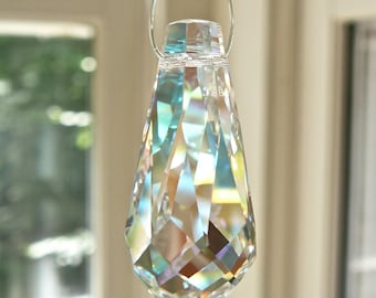 Swarovski Crystal Drop, Pendant, Rainbow Crystal, Prism, 38mm, 2nds with Tiny Flaws, Clear or Clear Aurora Borealis
