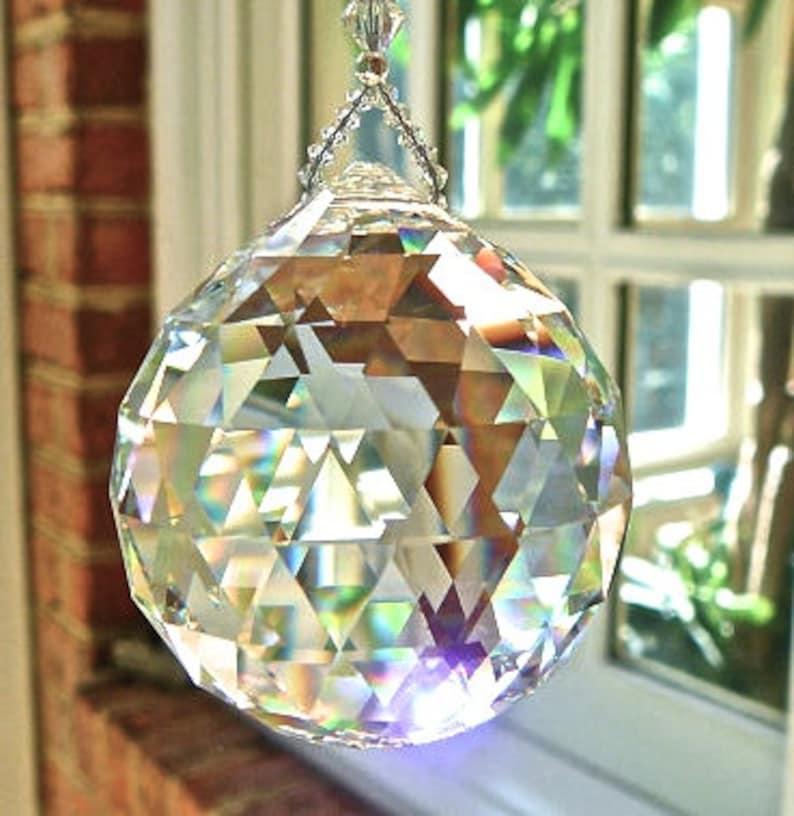 52bf8142f34cc HUGE 50mm Swarovski Crystal Ball Suncatcher, Clear Crystal Ball, Hanging  Crystal Suncatcher, Rainbow Maker, Window Hanger