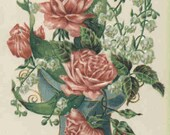 Vintage Fusible Image Urn with Roses Approximately 2 1 4 quot x 3 1 4 quot