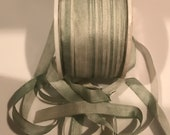 Gorgeous 7mm celery green variegated silk ribbon 3 yards Close-out