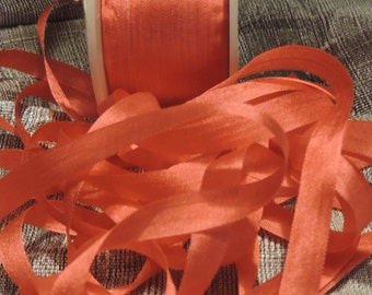5 yards in 7mm wide Coral silk ribbon Color #535