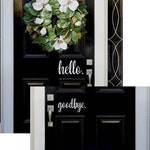 Hello, Goodbye Front Door Welcome Custom Vinyl letters Decal Wall Words Lettering Greeting Front Door Add Curb Appeal, Entryway Decor Spring