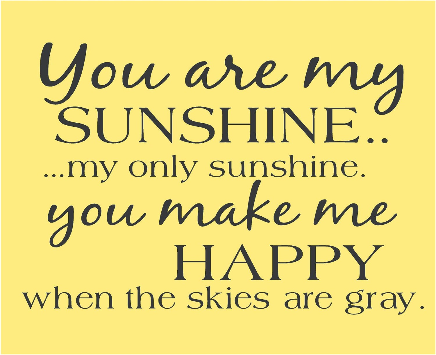 You Are My Sunshine Song Subway Art Childrens Art Nursery Wall | Etsy