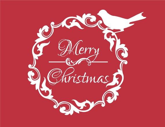 Frohe Weihnachten Brief.Frohe Weihnachten Kranz Mit Vogel Dekoration Wandtattoo Brief