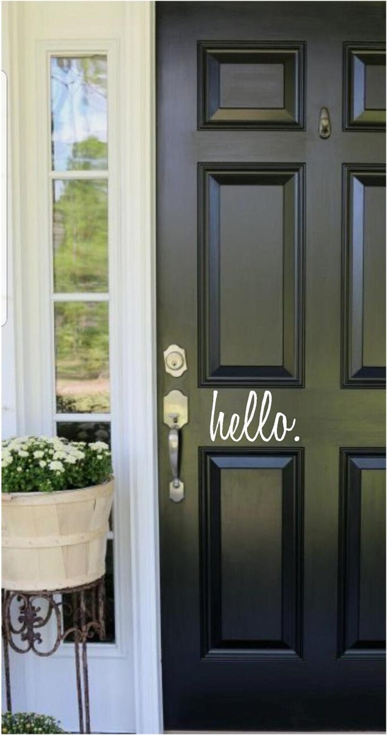 Hello Front Door Welcome Custom Vinyl letters Decal Wall image 0