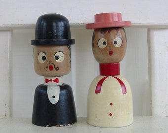 Salt Pepper Shakers Vintage, Man Woman Shakers, Vintage Wedding Gift, Wood, Made in Japan, Retro Kitchen